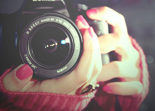 camera, lens, nails, photography, red