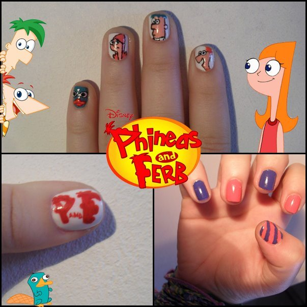 candace, disney, nail art, nails, perry the platypus