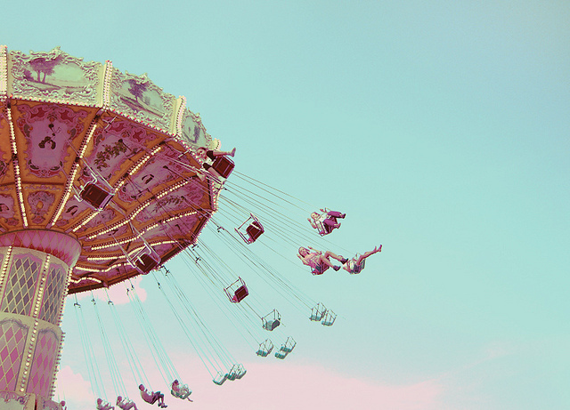 carousel, clouds, cyan, dreamy, flight