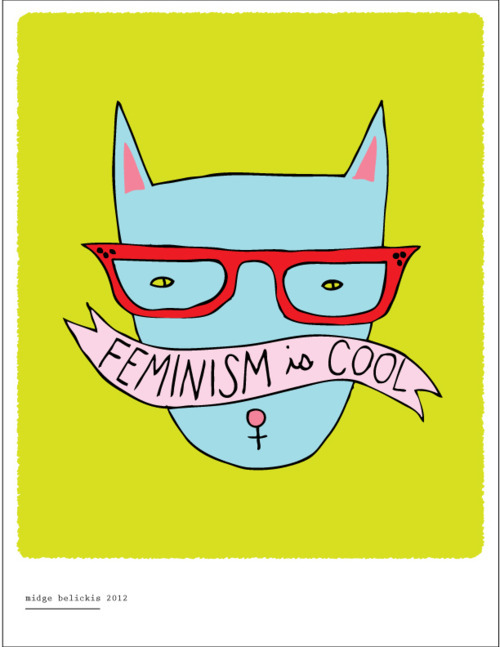 cat, cool, femenist, feminism, girl, girls, glasses, green, kitty, love, pink, red, retro, try, white, women
