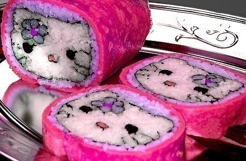 cat, food, hello kitty, pink, sushi