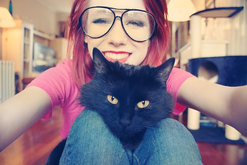 cat, girl, glasses, red hair