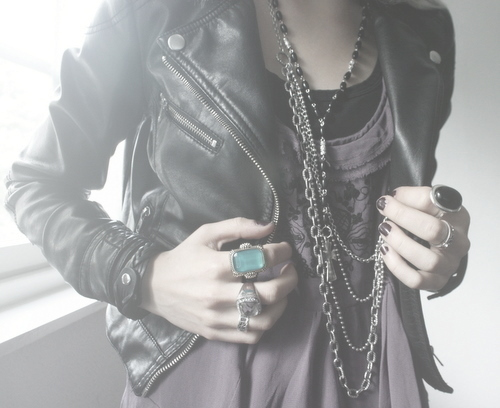 chain, fashion, jacket, leather jacket, nails, outfit, photography, rings, shirt