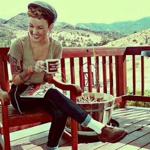 chair, cute girl, girl, magazine, porch, short hair, smile, style, tattoo, vintage, warmth