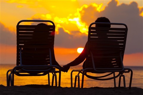 chairs, couple, holding hands, sunset