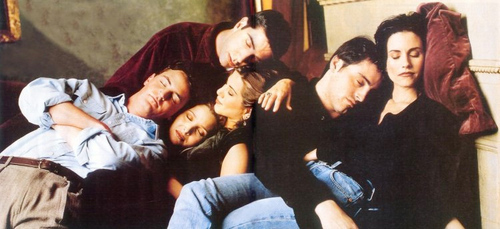 chandler bing, friends, friendship, joey, monica geller, phoebe, rachel green, ross, ross geller, sleeping