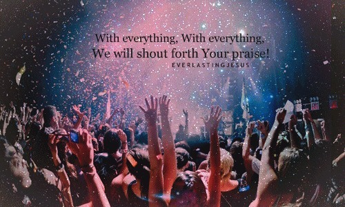 cheer, concert, confetti, god, hands, hillsong, jesus, lights, music, night, praise, shout, sparkles, stars