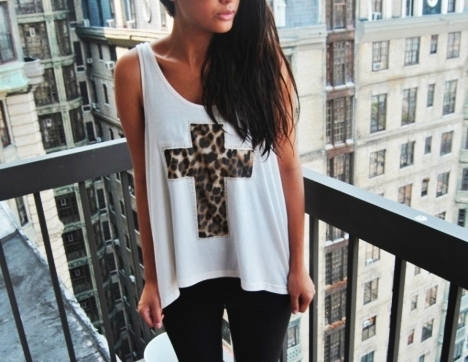 cheetah print, cool, cross, cross shirt, cute