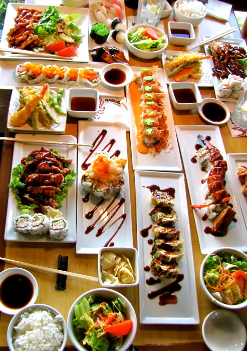 chopsticks, colourful, food, sushi, teriyaki chicken