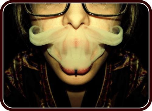 cigarets, fume, girl, glasses, mustache