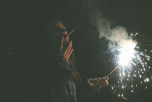 cigarette, cool, fire, girl, night, party, smoke, sparks