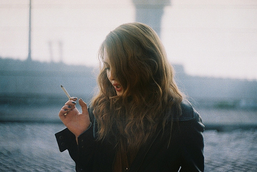 cigarette, girl, hair, photography