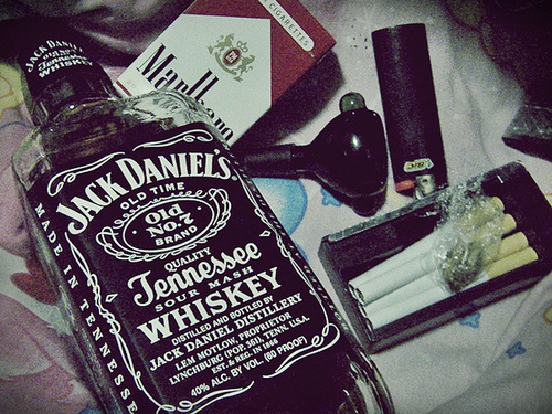 cigarettes, jack daniels, pot, smoking, whiskey