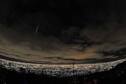 city, city lights, falling star, night, star