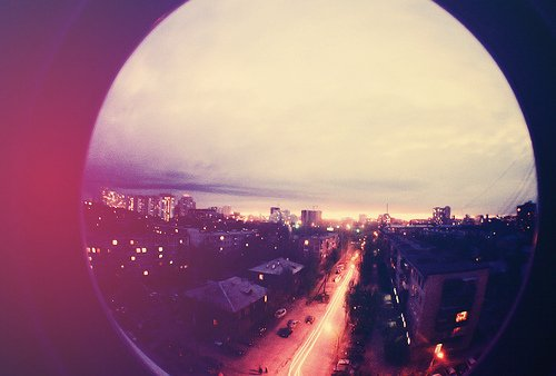 city, fish eye, lights, photography, street