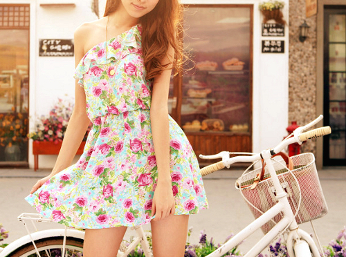 clothes, cute, dress, fashion, floral, flowers, girl, girly, hair, photography, pink, pretty, style, summer, sun