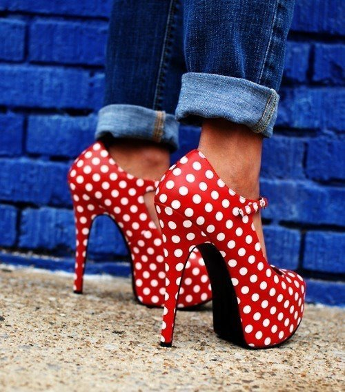 clothes, cute, fashion, high heels, polka dot