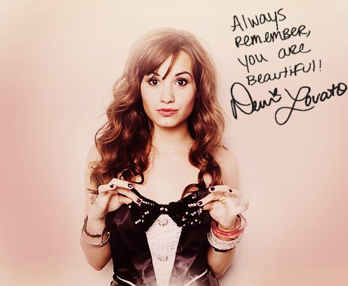 clothes, demi lovato, girl, hair, lovatic, love you, pretty, typography, words