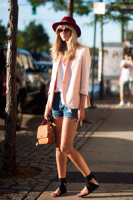 clothes, fashion, hat, jean shorts, style