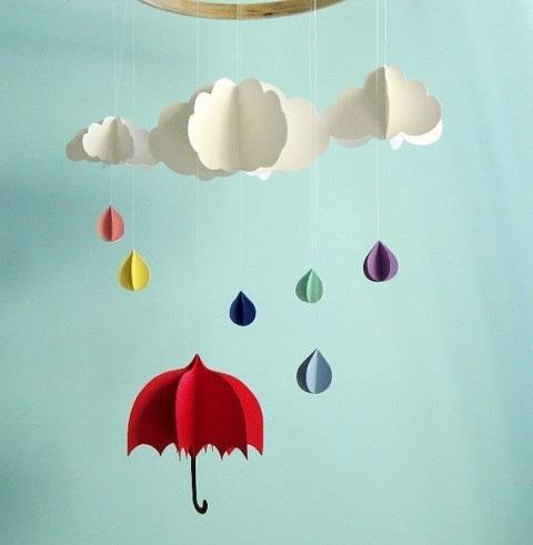 cloud, paper, rain, umbrella