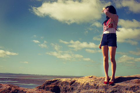 clouds, cute, fashion, girl, lovely, red, sky