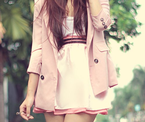 coat, cute, dress, fashion, girly, hair, k-fashion, kfashion, pink, ring, ulzzang, white