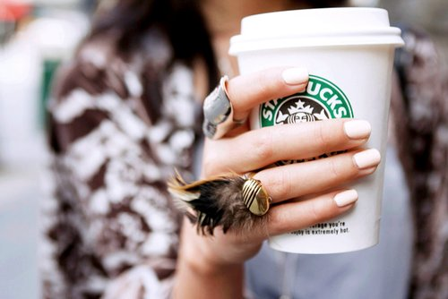 coffee, cute, fashion, feathers, nail