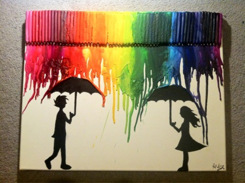 colorful, love, paint, rain, umbrella