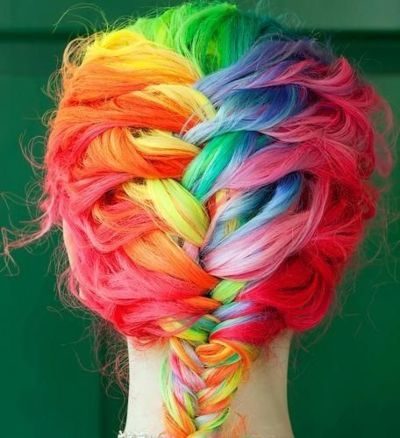 colors, cute, fishtail braid, hair, hairstyle, rainbow