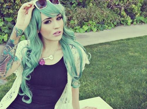 coloured hair, dyed hair, fashion, girl, green hair, ink, seafoam green hair, tattoo, tattoos