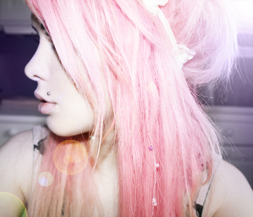 coloured hair, dyed hair, girl, monroe, pastel hair