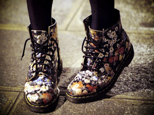 combat boots, flowers, i have, love this, shoes
