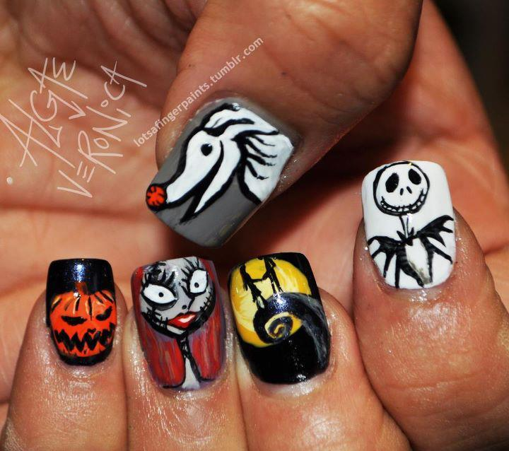 cool, creative, halloween, haunted movie nails, nail polish