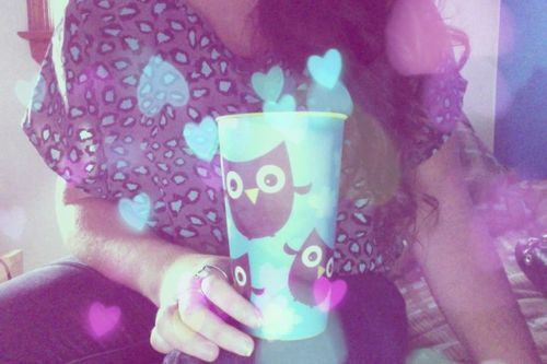 cool, cute, girl, hearts, mug, owl, photography, webcam