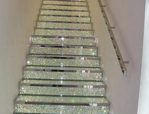 cool, design, glitter, glitter stairs, home decor