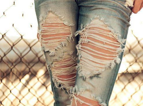 cool, fashion, fresh, girl, jeans, pretty, rock, rock and roll, style, torn
