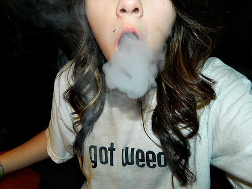 cool, girl, piercing, smoke, smoking, weed
