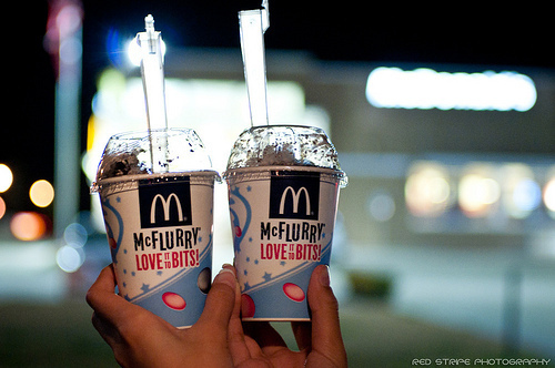 couple, cute, fashuion, ice cream, mc flurry, mcdonnald, night