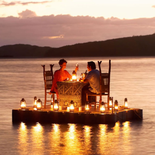 couple, dinner, lights, love, romantic, smile, water