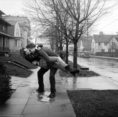 couple, hug, kiss, love, rain