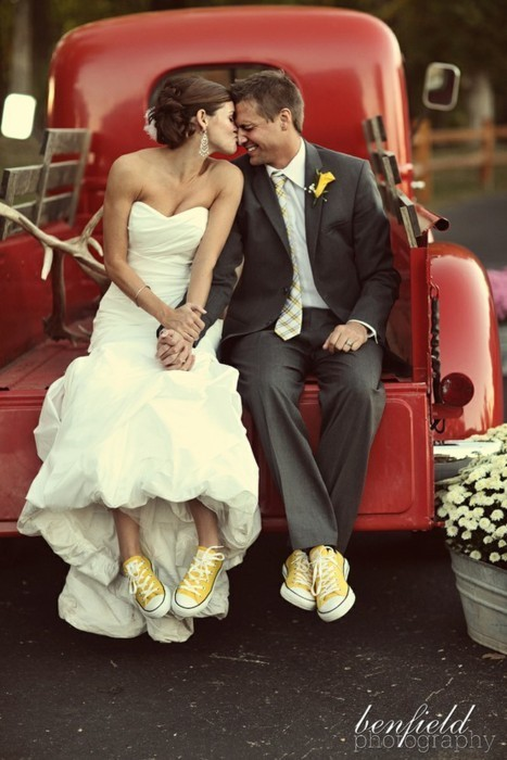 couple, shoes, sneakers, wedding, yellow