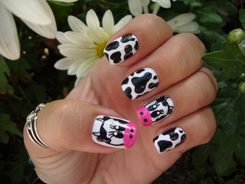 cow, cute, ginlovers, nail, nail art
