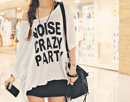 crazy, fashion, girl, mad, noise, party, skirt, t shirt, tshirt, wild