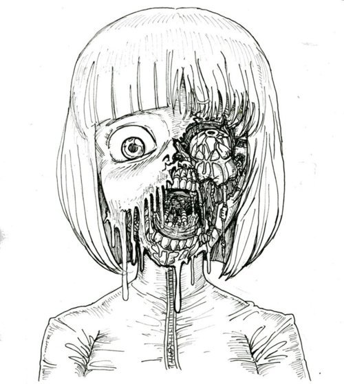 creep, girl, illustration, zombie