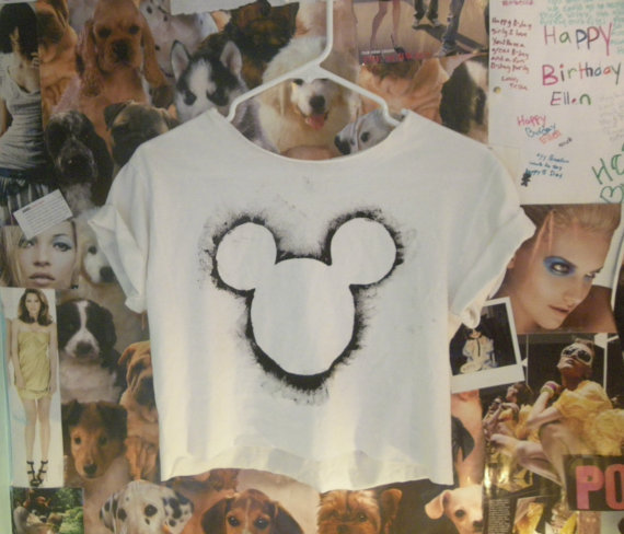 crop top, cropped tee, mickey mouse, t-shirt, tee