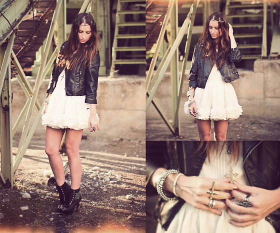 crown, dress, fashion, girl, leather jacket