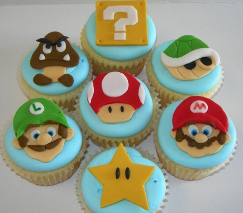cupcakes, cute, luigi, mario bros, party, sugar, super mario, sweet, yoshi