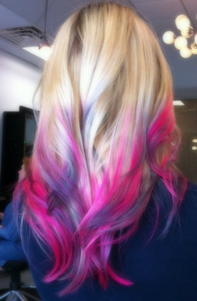 curls, dipdye, girl, hair, pink