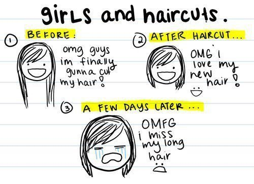 cut, funny, girl, hair, haircuts, long, love, mind, miss, omfg, omg, quotes, short, so true, true, truth