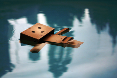cute, danbo, danboard, submerge, water